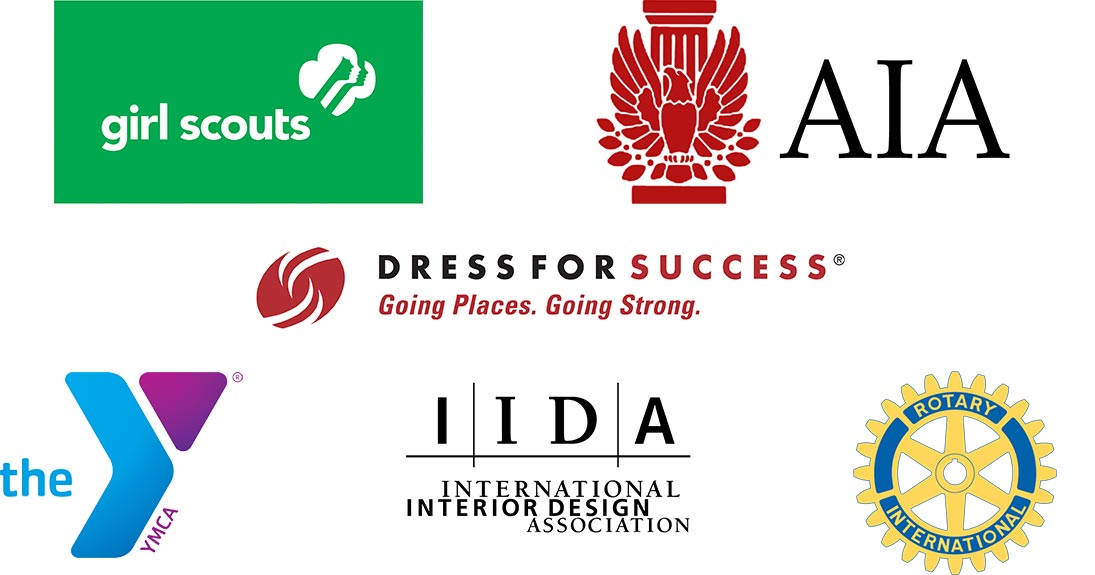 Girl Scouts, AIA, Dress for Success, YMCA, International Interior Design Association, Rotary International