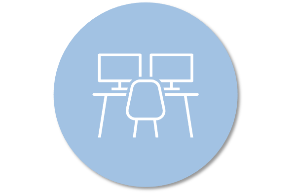 icon of desk with two computer monitors